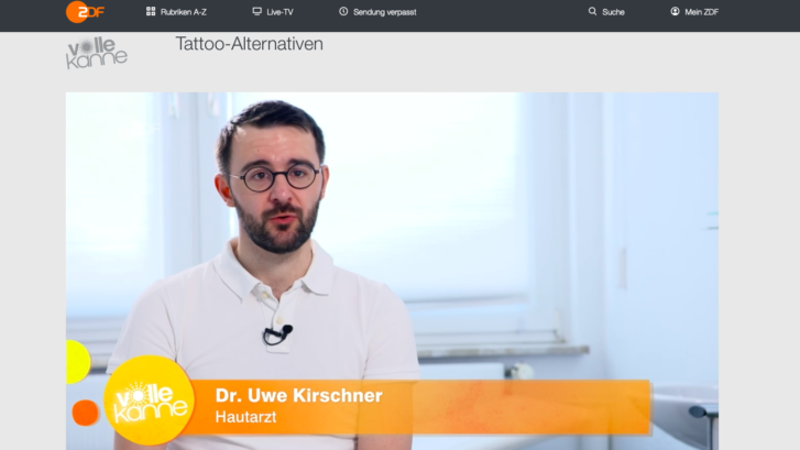 Hautarzt Dr. Kirschner (Mainz) im ZDF-Interview (Volle Kanne) zu Tattoo-Alternativen