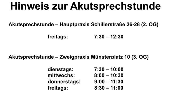 Akutsprechstunde Schillerstrasse-Münsterplatz