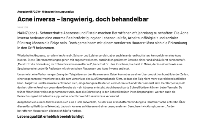 BVDD Pressemitteilung zu Acne inversa mit Experten Dr. Kirschner Mainz