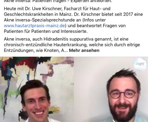 Video-Interview mit Dr. Kirschner zu Akne inversa/ Hidradenitis suppurativa